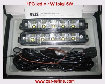 5W LED DRL, led daytime running light 002 Universal type  5sets/lot  Free shipping by DHL !