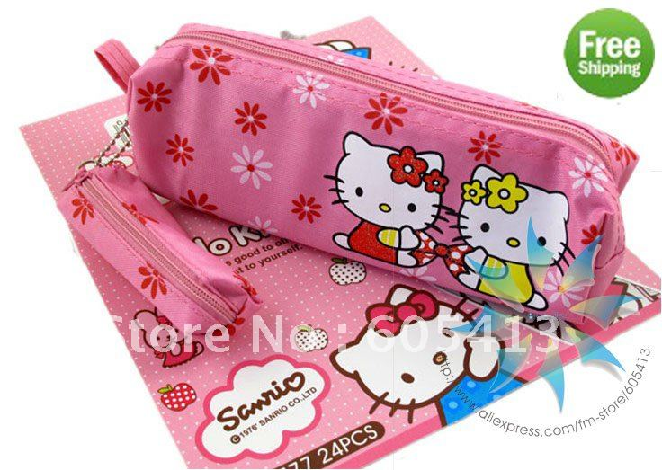 Free Shipping by DHL!Wholesale fashion Hello Kitty gift pencil pen case/pen purse Box cosmetic bag pouch Pencil case/pencil box(China (Mainland))