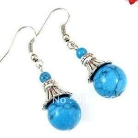 Fashion Jewellery Tibet Silver Turquoise Earring     Free Shipping