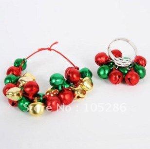 Рождественские украшения Christmas Jingle bell 100sets/lot bracelet and ring tama tjr7 hat tambourine jingle ring