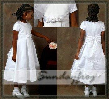 Custom Made A-Line Flower Girl Dress Tea-length Satin Sash Flowers First Communion Dress Easter Dress Wedding Party Dress -FLN13