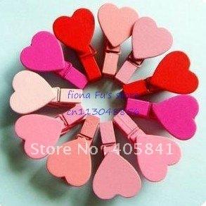 lindo romántico de mini corazón nota de madera foto decoración clip marcador boda , envío libre al por mayor , 200pcs / lot, OSA001