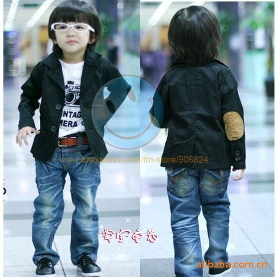 Free shipping 5pcs/lot wholesale baby coat/children coat/kid&#39;s suit/boys suit/baby clothes,black,5 sizes(China (Mainland))