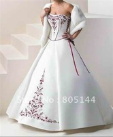 Sexy white Satin&Chiffon sleeveless-style V-neck ruffle Beading Ball a-line Wedding Dress Fantacy Bridal Dress