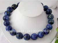 20mm blue nature round lapis lazuli bead necklace+free shippment