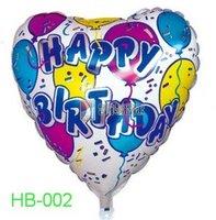 "Free Shipping, HB-002 Heart Shape -18"" Happy Birthday/Party Foil Balloon, 20pcs/lot"