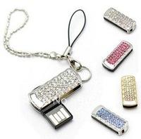 Mini 4GB/8GB/16GB/32GB Swivel Crystal Key USB Flash Drive Jewelry USB Flash Memory, Gift USB 2.0,MOQ:1PCS+free shipping+Gift Box