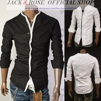 Mens casual slim fit No Collar  dress shirt /  Men's  Long Sleeve Shirts