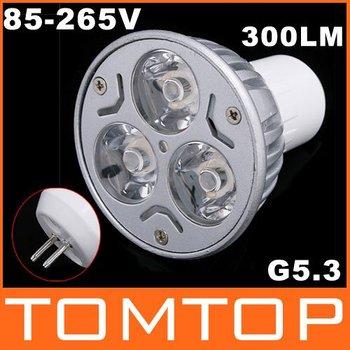 3000-3500k 300LM GU5.3 85-265V Warm White 3*1W LED Spot Light Lamp Bulb led lighting free shipping