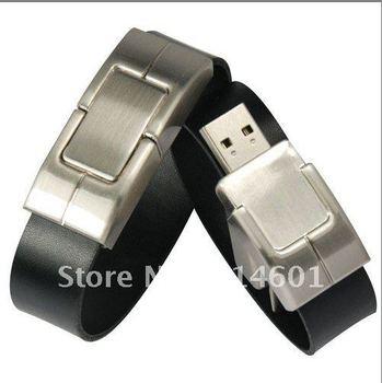 5pcs/lot 4GB Leather Gift  Disk Wrist USB  Flash Driver Free Shipping