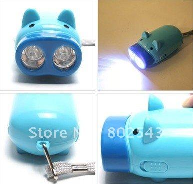 pig pattern! 2led hand pressing torch, handpressing flashlight 50pcs/lot free shipping rl049(China (Mainland))