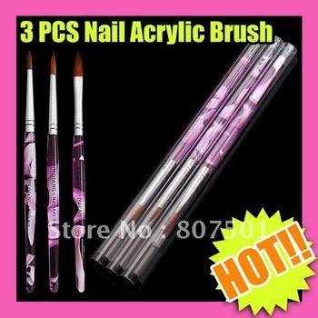 New Arrival Freeshipping 3PCS/Set 5Set ACRYLIC BRUSH NAIL ART TIP NO.2 NO.4 NO.8 SET C087