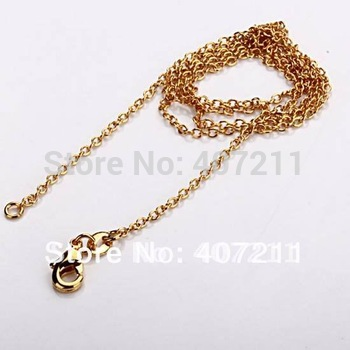 """5pcs 1mm 18""""yellow gold link chain,fine chain,fashion gold jewelry wholesale,cheap chain, Free shipping"""