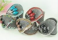 EUR&USA Trade order goods/high quality alloy bracelet/fashion leaves diamond bangel/5 color