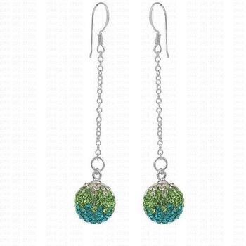 High Quality Green 2pcs12mm 925 Sterling Silve Full Rhinestone Loog Line Drop Earrings 925 Silver Earrings For Women/grils Gifts