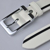 Wholesale/retail quality men's belts, fashion white leather waist belt, with a universal body and pin buckle,gift free shipping