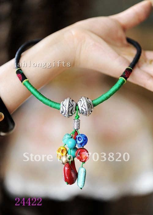 New Arrival Ladies Fashion Jewellery Tibet Silver Bell + Precious Stone Bead Charm Necklace Pendant 12pcs Mix Lot Free Shipping(China (Mainland))