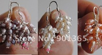 3-4mm Pearl Grape Shape Drop Earrings 5 pairs/lot mix colors& Free Shipping