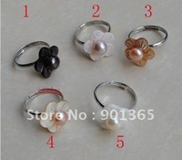 6-7mm Pearl Rings Adjustable 10pcs/lot Mixed colors&Free shipping