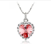 20PCS/Lot, Free Shipping,Shining Cute Heart Of Ocean Crystal Necklace Jewelry --Wholesale !