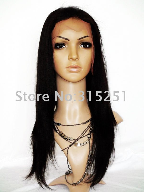 Guaranteed 100% indian remy human hair full lace wig 16 inch Yaki #2 wholesale price(China (Mainland))