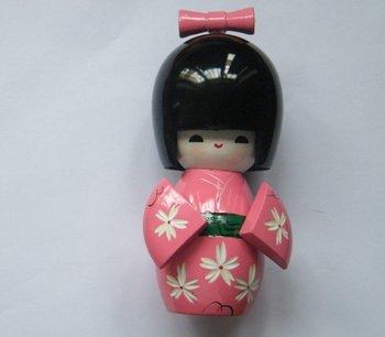 #7119 Kimono Smiling Wood Kokeshi Doll Desk Ornament popular and beautiful gift