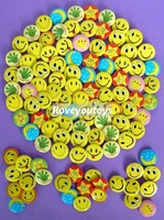 Wholesale - Happy yellow Smiley faces badge pin lot of 102pcs 2.5cm random new free shipping