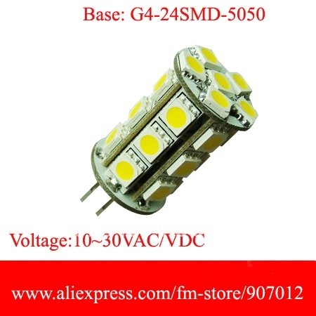 Hot products!!Free shipping +DHL (20)G4 -24SMD 5050 LED Bulb Lamp 12V White Light Car by wholesale+ retail(China (Mainland))