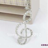 Big  silver Music note Rhinestone pendant necklace