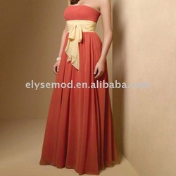 Elegant Chic Chiffon Strapless Peach with Pale Yellow Sash Bridesmaid Long Dress(China (Mainland))