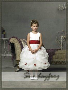 Free Shipping A-Line Ruffle Appliqued Flower Girl Dress Tea-length Organza Sash First Communion Dress Party Dress-FL157