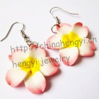 New! size 25mm island style Mix colorplumeria flower earrings lot (48 pairs)