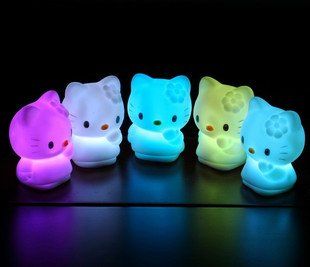 Brand New Colorful Hello Kitty LED Night Light Cute 7 Color Changing Small Desk Night Lamp Free Shipping 20pcs/lot