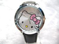 5pcs/lot Hot Selling Hello Kitty Watch,diamond hello kitty watch lady leather watch 5colors for Women Watch Girls Watch