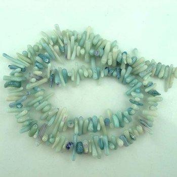 Light blue Coral Round pillars Freeform Bead 4*15mm
