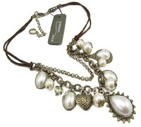Free ship fee Copper Heart Sun bead Venetian pearl Charm Bronze Necklace Tag $26.99 Lover gift X85