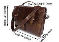 Guarantee 100% Genuine Vintage Tan Leather Men's Briefcase Messenger Shoulder Bag #6071