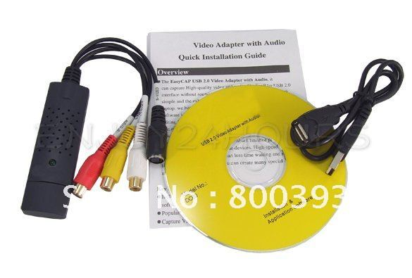 Free Shipping! Easy Capture USB 2.0 Video TV DVD VHS Capture Adapter card with USB CABLE(China (Mainland))