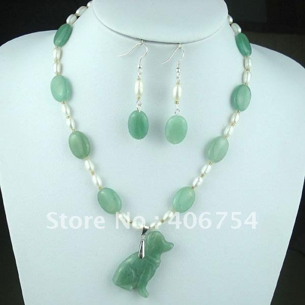 fashion jade The dog shape NECKLACE EARRING SET(China (Mainland))