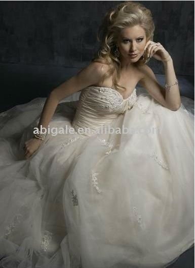Ball Gown Sweetheart Strapless Empire Waistline Chapel Train Tulle Wedding Dress(China (Mainland))