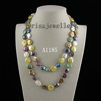 Free Shipping A1185a# Mixes Color Button Pearl Necklace Fresh Water Pearls Necklace