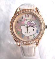 30PCS/Lot Fashion Cartoon Watch High Quanlity Lovely Crystal Diamond  Hello Kitty Watch women's watch Wristwatch