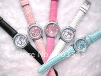 High Quanlity Lovely Crystal Diamond Cartoon Watch  Hello Kitty Watch for Lady's Watch Children's Watch 10pcs/lot