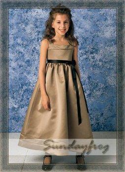Free Shipping Custom Made A-Line Sash Tie Flower Girl Dress Floor-length Satin First Communion Dress Wedding Party Dress -FL040