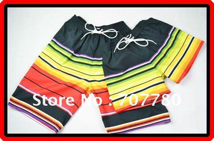 Casais Frete Grátis 10 pcs / lote do arco-íris Stripe Casual Praia Shorts Natação Calças Esporte Shorts Homens e Mulheres (CTS015)!(China (Mainland))