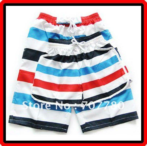 Casais Frete Grátis 10 pcs / lote do arco-íris Stripe Casual Praia Shorts Natação Calças Esporte Shorts Homens e Mulheres (CTS016)!(China (Mainland))