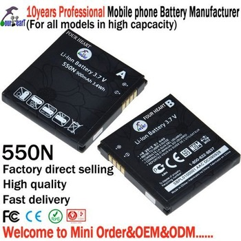 Free shipping 550N mobile phone battery from manufacturer by cheap price 600mAh + 10piece/lot