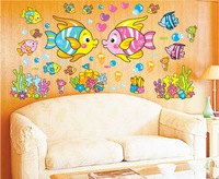 Free shipping,Tropical fish wall Stickers, Decorative DIY wall decals,best children gift, HL1242