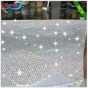 28x21cm High Quality Shiny Stones EVA Glue On The Backside Crystal AB Rhinestones Mesh Trimming
