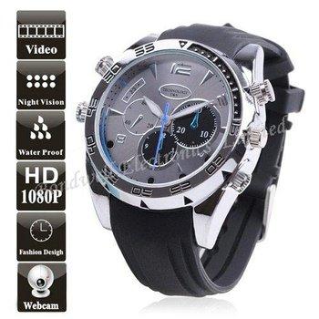 1080P HD Waterproof  Watch DVR Hidden Watch Camera with IR Night Vision, 1920*1080 30FPS (8GB),  Free UPS DHL EMS